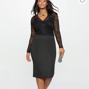 NWT Eloquoii Dark Green Neoprene Pencil Skirt